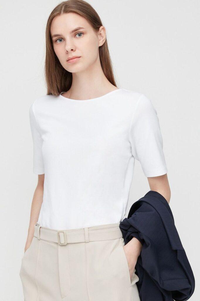 Boat-Neck-Short-Sleeve-T-shirt-best-white-tshirt-for-women