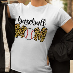 Baseball Mom Leopard Funny Softball Mom Shirt