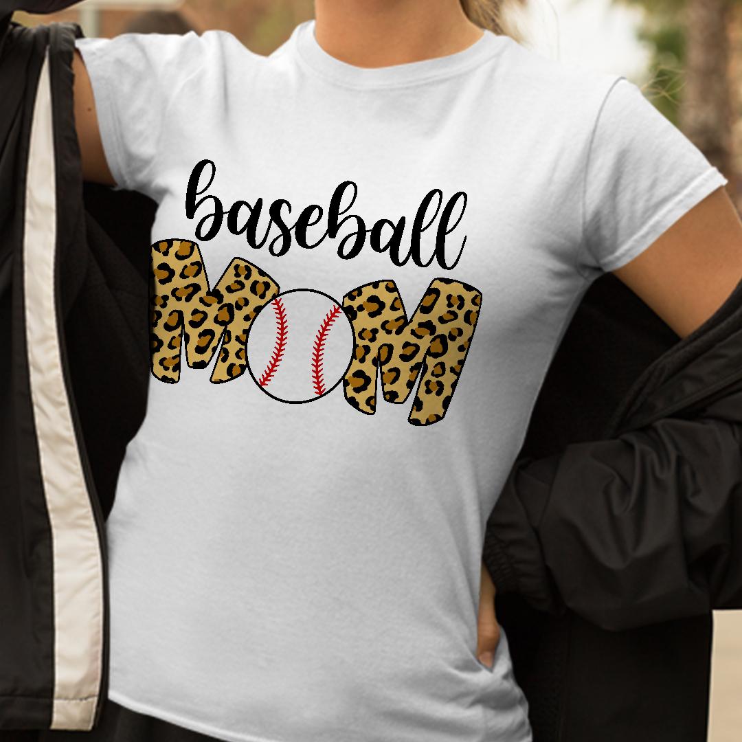 Baseball Mom Leopard Funny Softball Mom Shirt