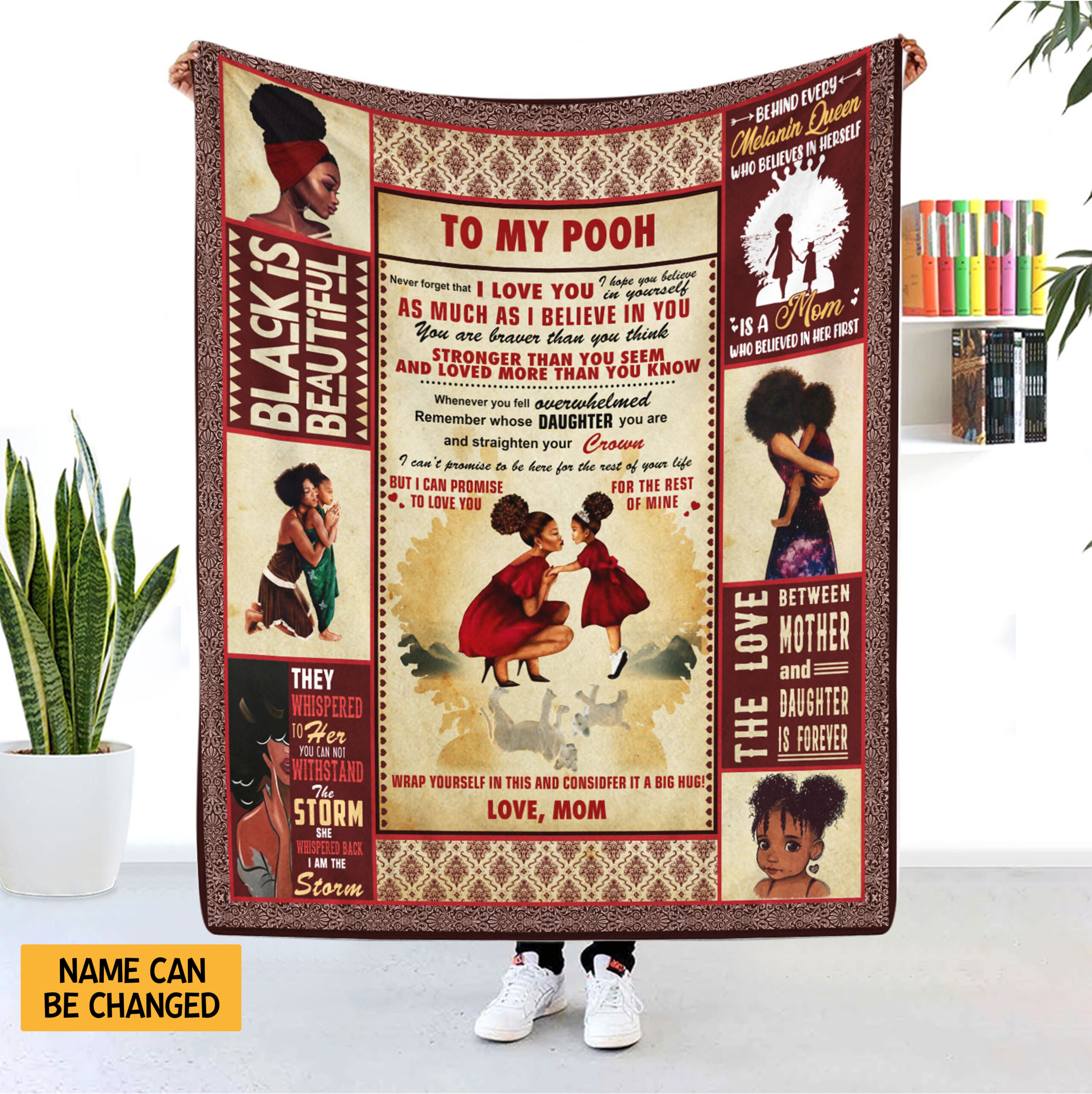Black Mom Personalized Blanket To My Daughter Never Forget I Love You