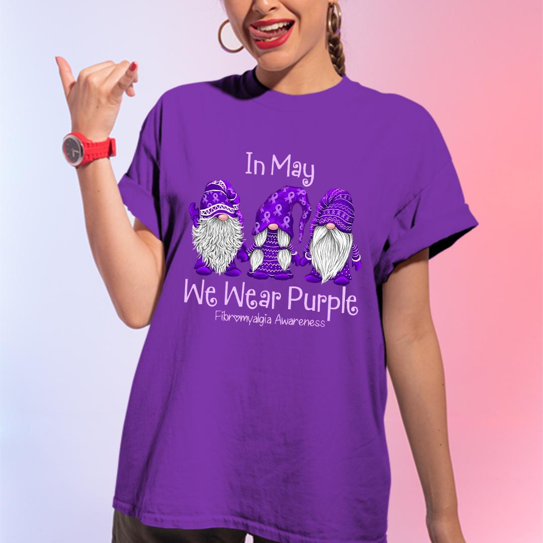 Gnome In May We Wear Purple Shirt Fibromyalgia Awareness