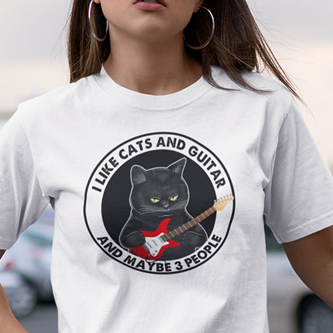 I Like Cats And Guitar And Maybe 3 People Shirt
