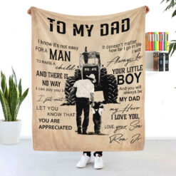 Trucker Dad Personalized Blanket Always Be Your Little Boy