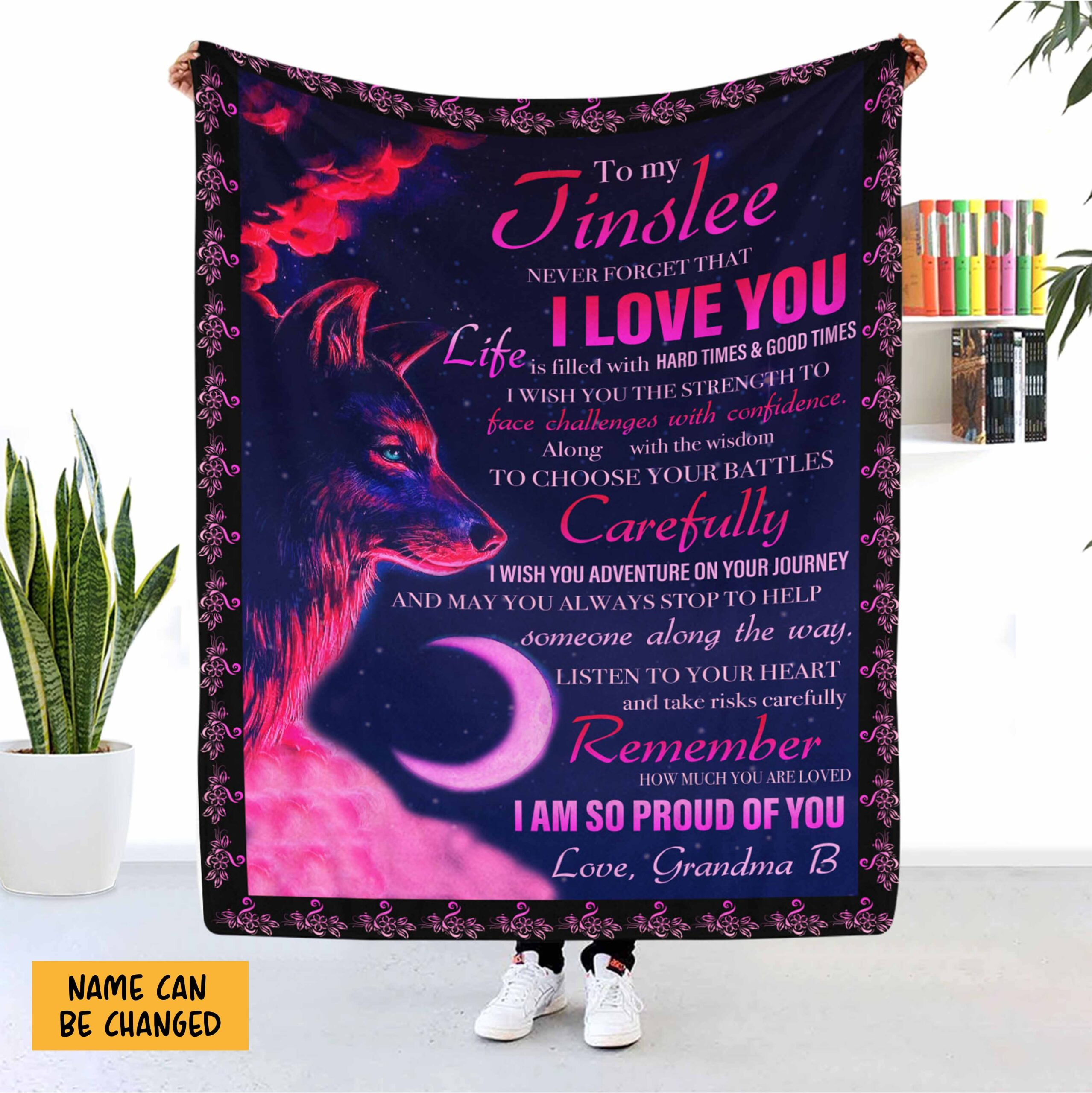 Wolf Never Forget That I Love You Granddaughter Personalized Blanket