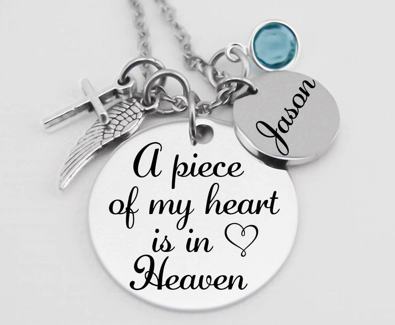 """""""A Piece Of My Heart Is In Heaven"""" Memorial Jewelry- what to give to a friend whose dad died."""