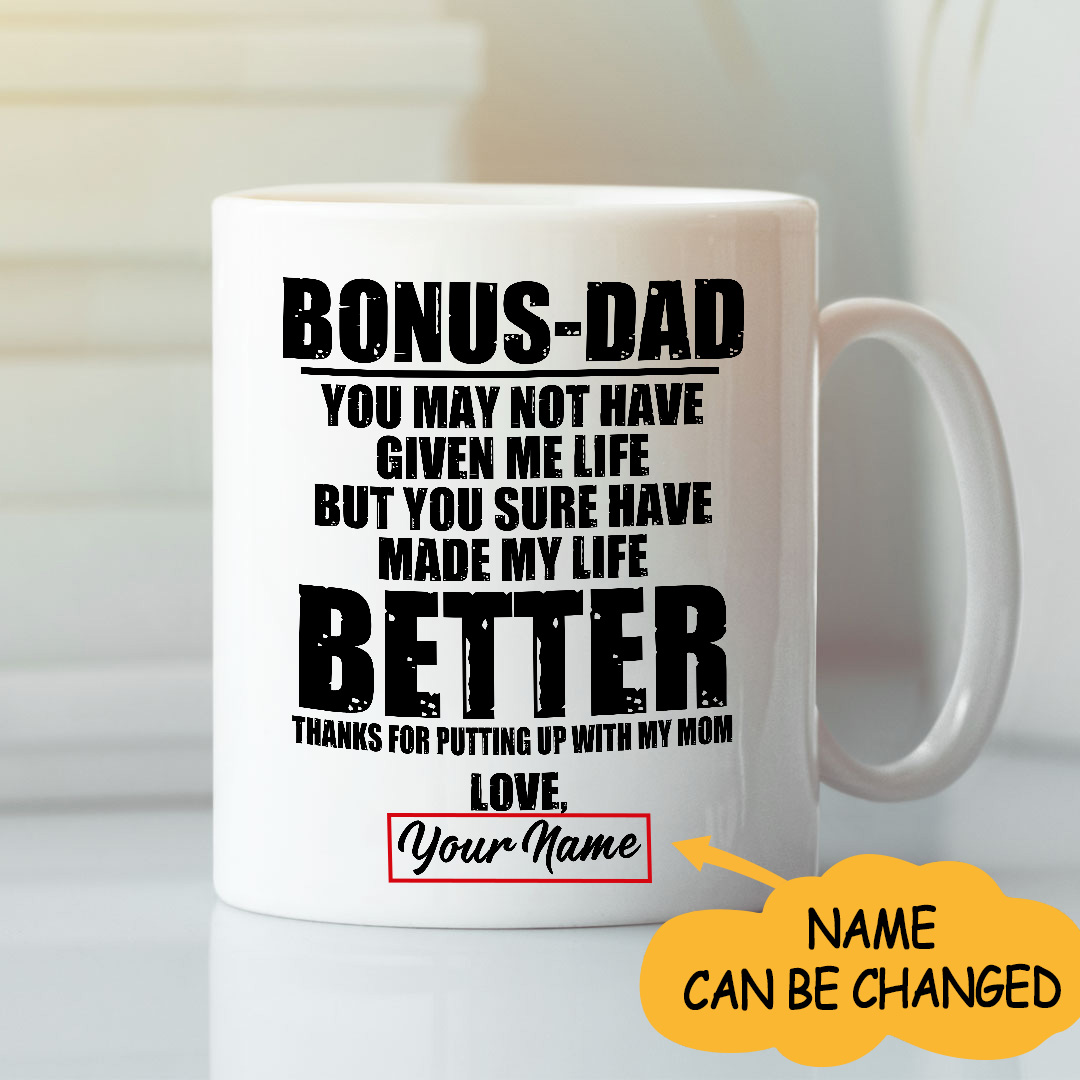 Bonus Dad Thanks For Putting Up With My Mom Personalized Mug