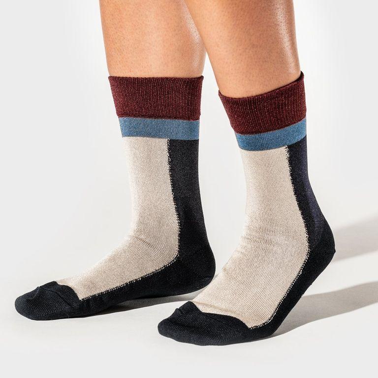 Color Block Short Sock Navy