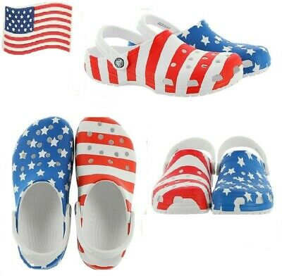 Crocs Mens and Womens Classic American Flag Clog