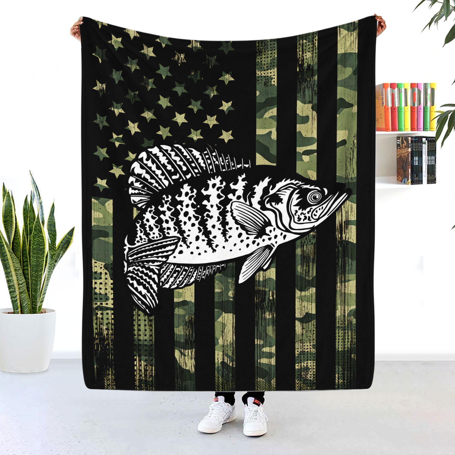 Fish American Flag Camouflage Blanket