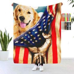 Golden Retriever American Flag Blanket
