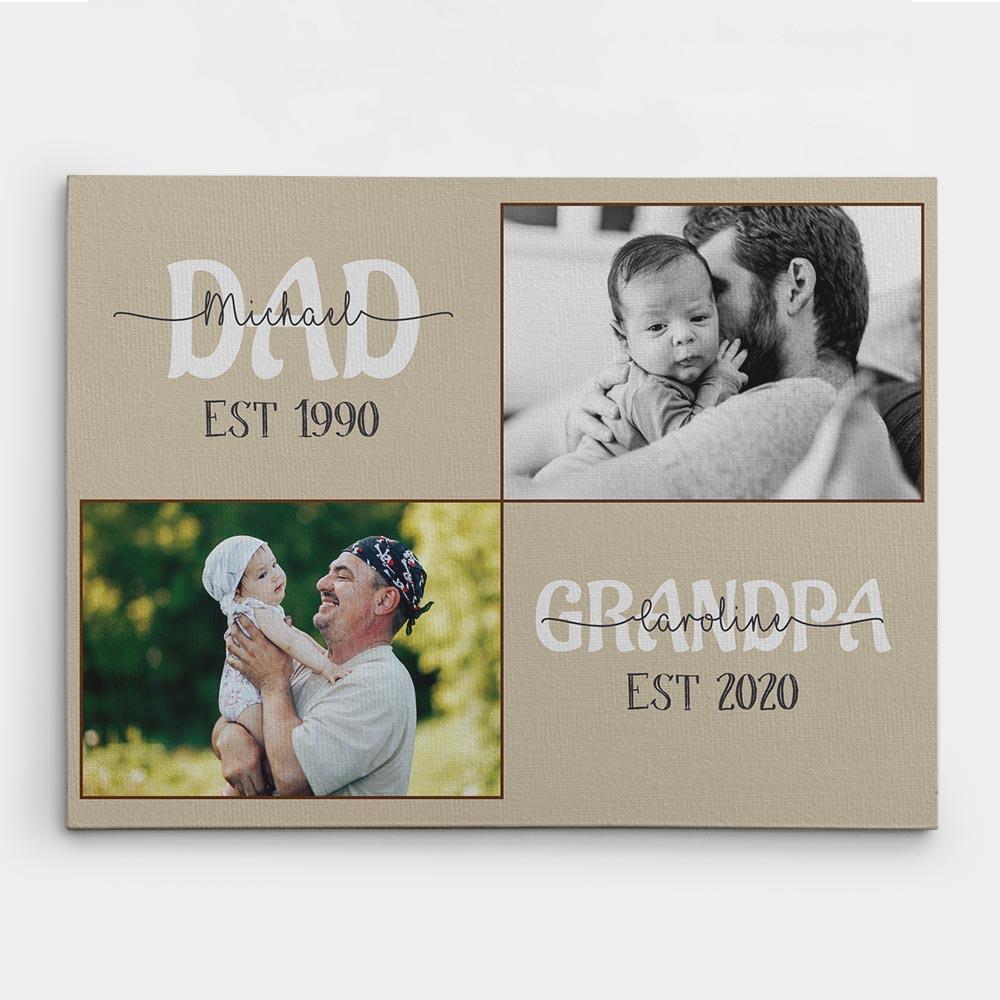 Grandpa Est Photo Canvas Print- best new grandad gifts