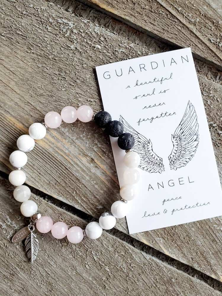 Guardian Angel Healing Stones Bracelet- what to give to a friend whose dad died