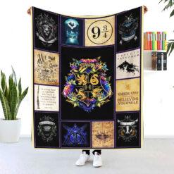 Harry Potter Hogwarts Blanket Work Hard Believing In Yourself