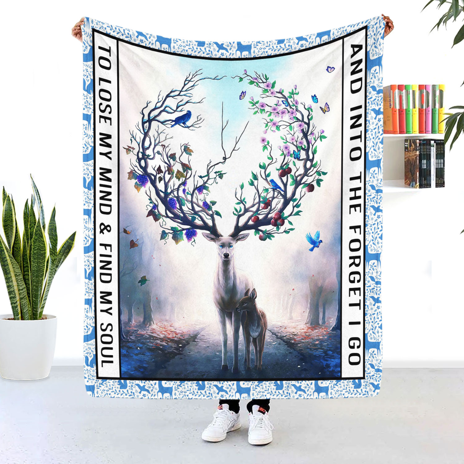 Into The Forest Lose My Mind And Find My Soul Deer Blanket