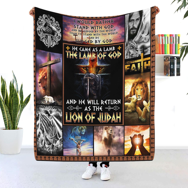 Jesus Christ The Lamb Of God The Lion Of Judah Blanket