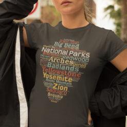 National Parks List Word Cloud Camping Shirt