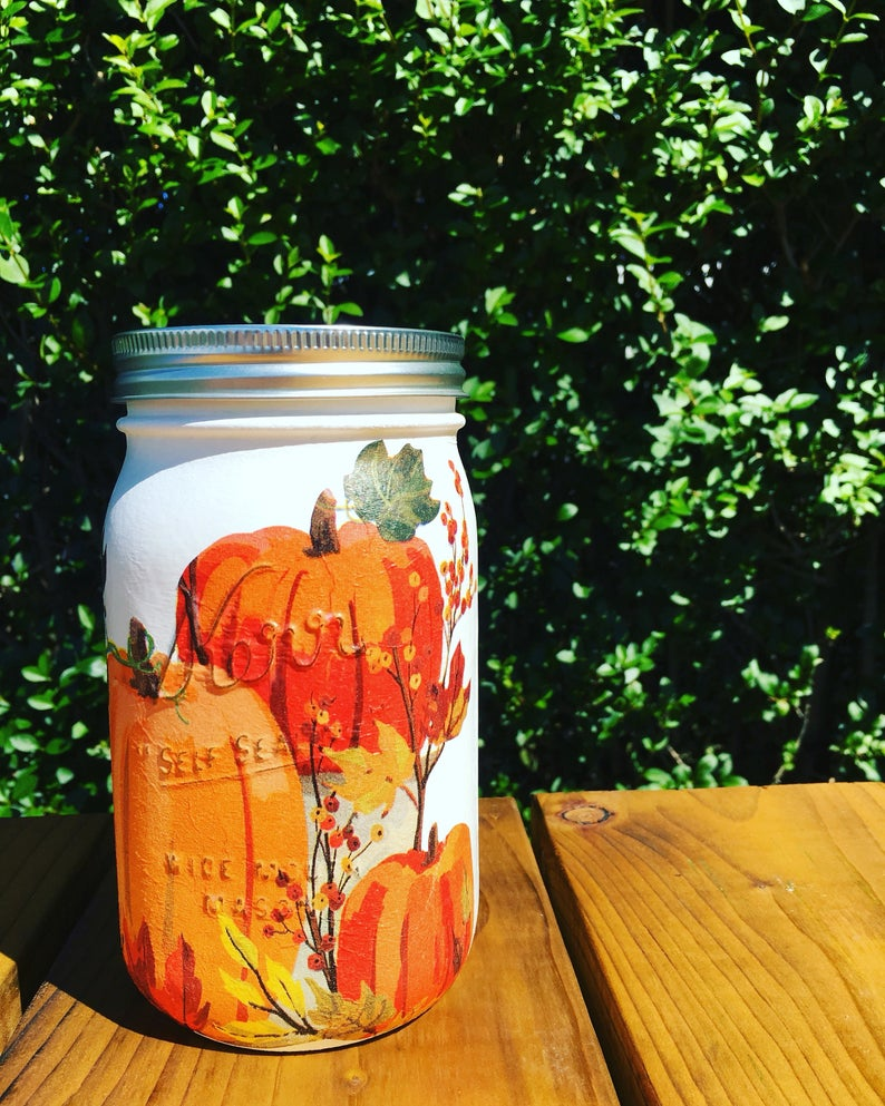 Painted Pumpkin Mason Jar Vase- great holiday gifts for teacher.
