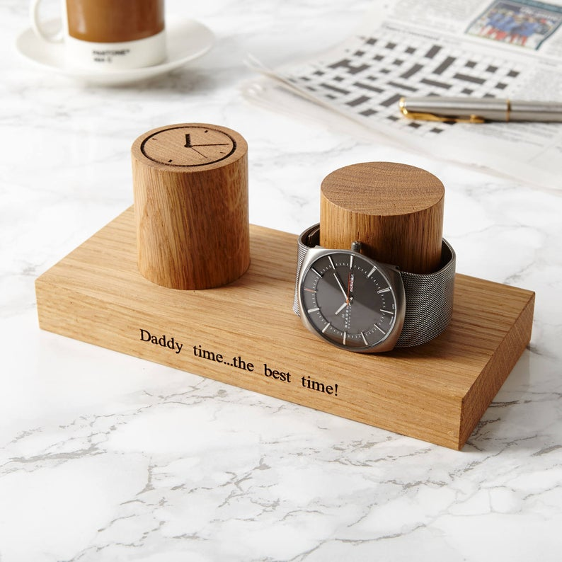 Personalized Watch Stand for Two Watches- best gift for dad to do with son.