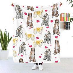 Rough Collie Heart Fleece Blanket