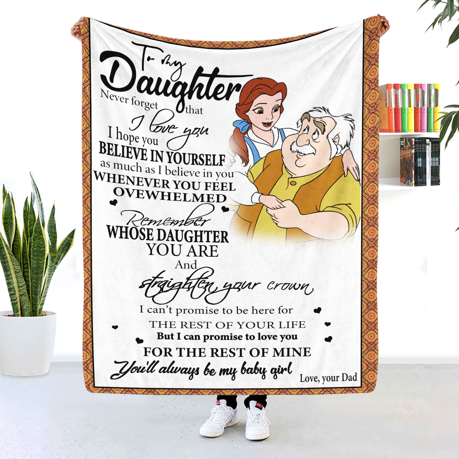 To My Daughter Dad And Daughter Blanket Belle And Maurice