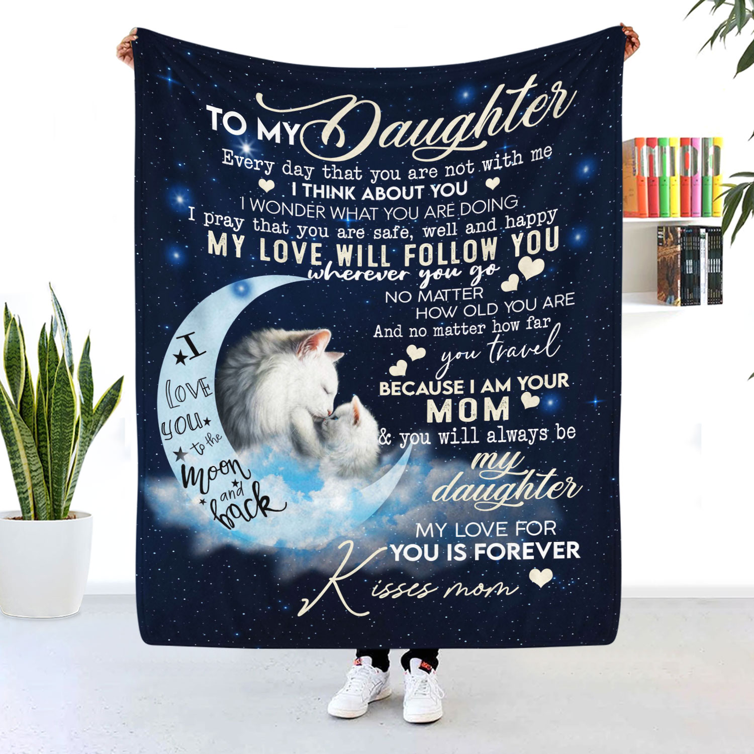 To My Daughter My Love For You Is Forever Cat Blanket
