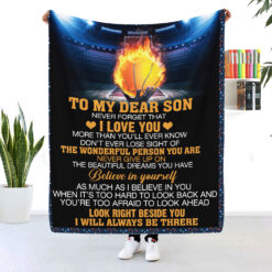 To My Dear Son Never Forget I Love You Basketball Blanket