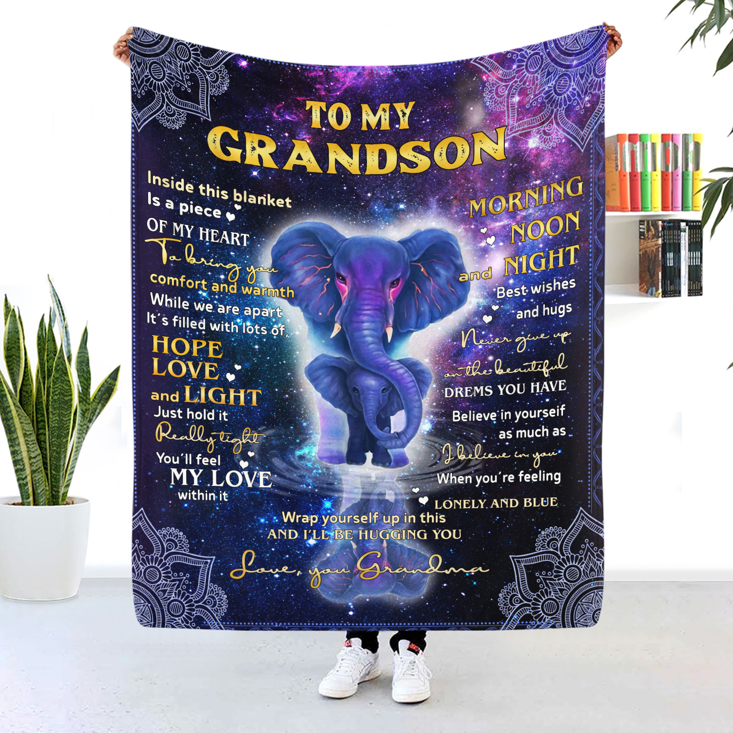 To My Grandson Inside This Blanket Is A Piece Of My Heart Blanket
