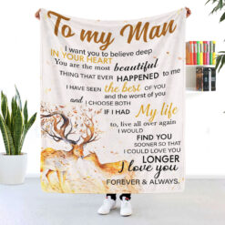 To My Man I Love You Forever And Always Reindeer Blanket