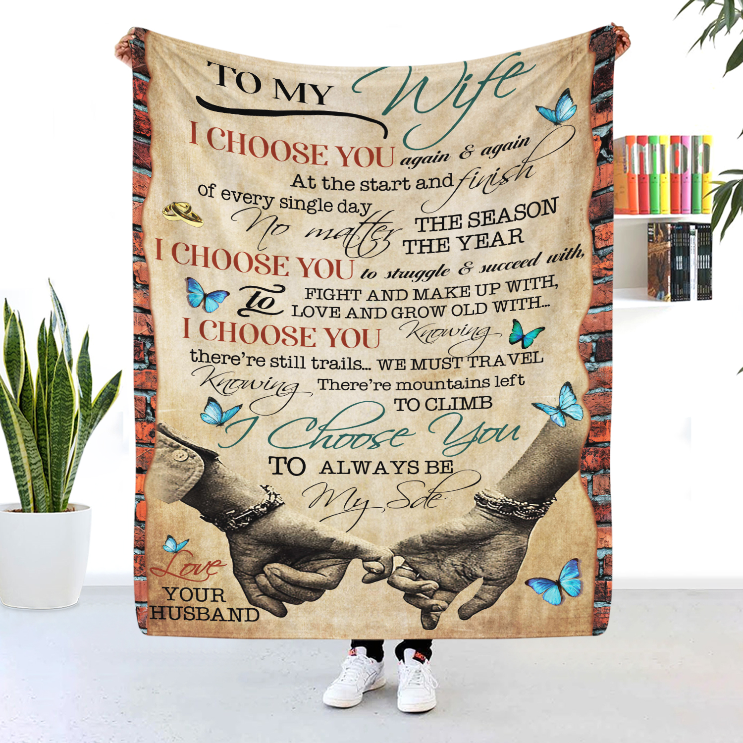 To My Wife I Choose You Again And Again Butterfly Blanket