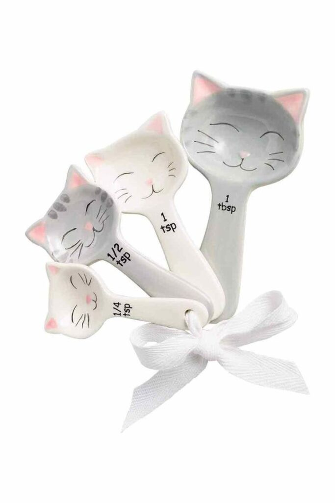 gift for cat lover Cat Shaped Ceramic Spoons