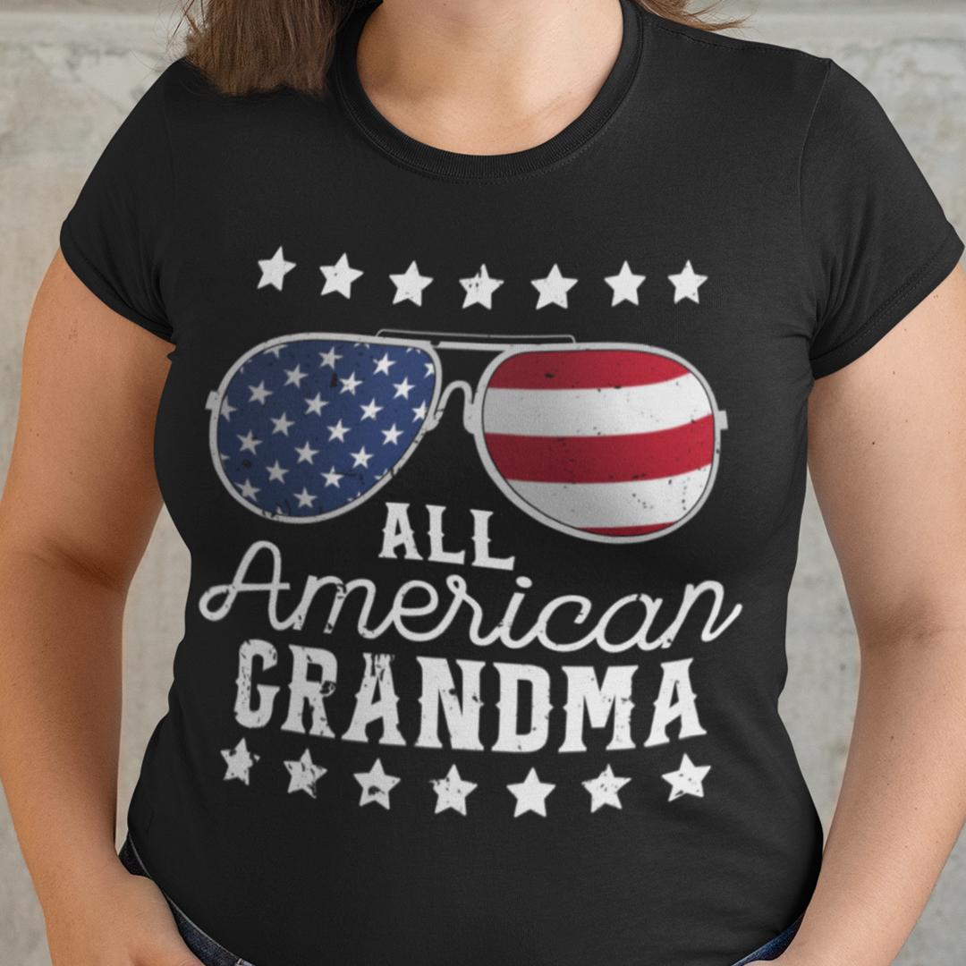 All American Grandma 4th Of July Shirt US Flag Sunglasses