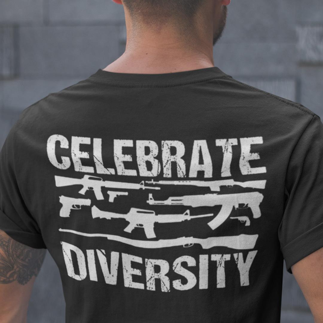 Celebrate Diversity Humor Gun Shirt