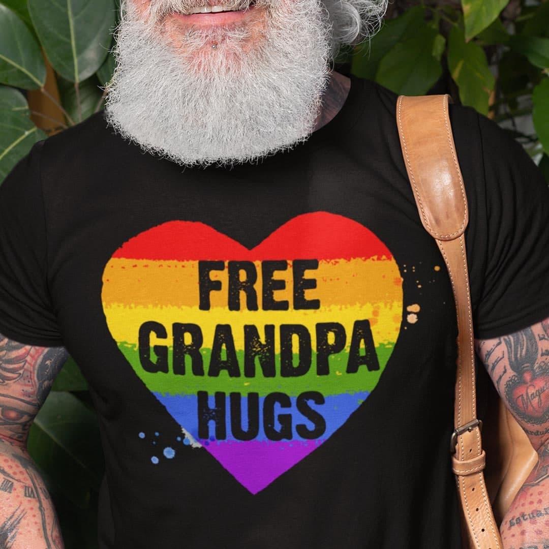 Free Grandpa Hugs LGBT Heart Shirt