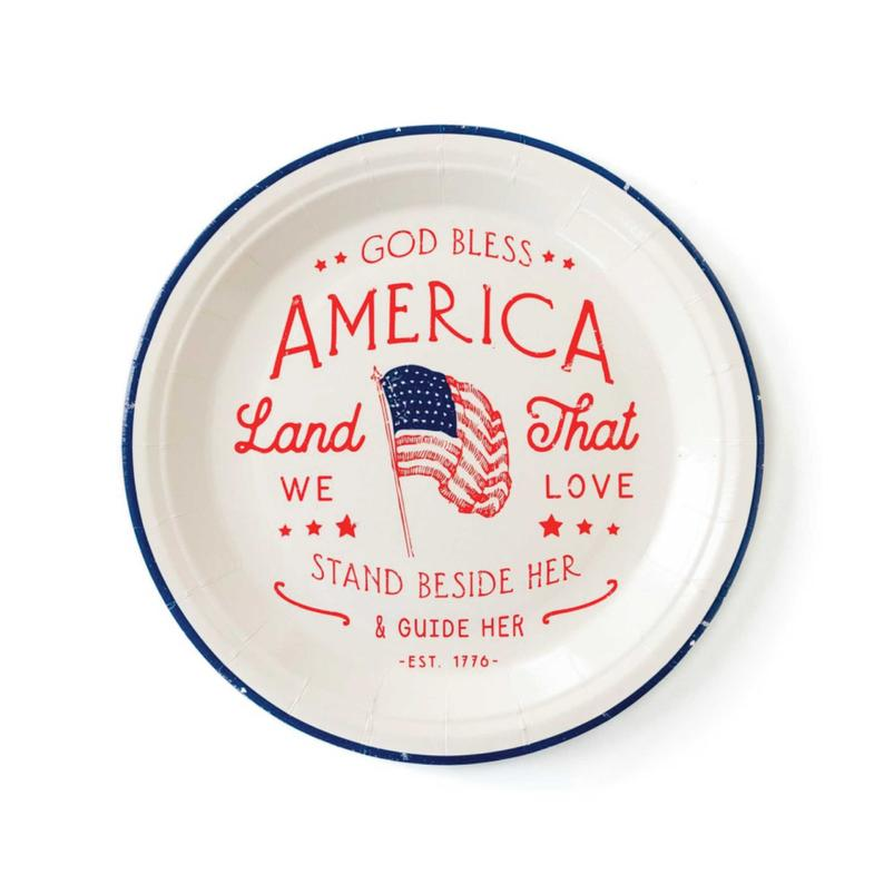 """God Bless America 9"""" Plates- best Independence Day gift for mom."""