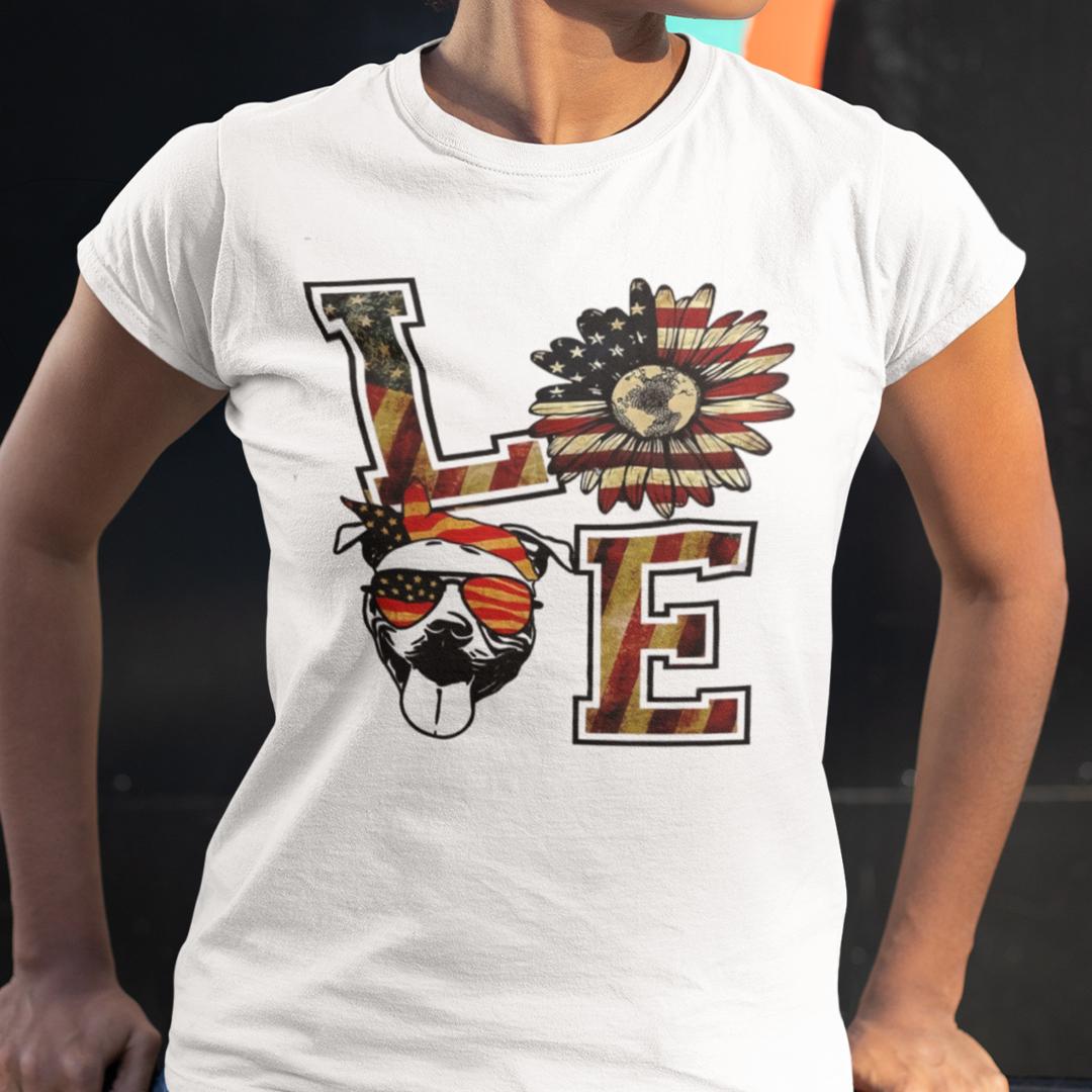 Love Pitbull US Flag Sunflower Patriot Shirt