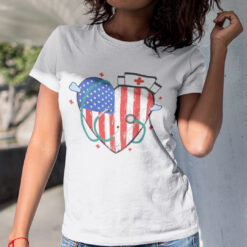 Nurse 4th Of July Shirt Heart American FlagNurse 4th Of July Shirt Heart American Flag