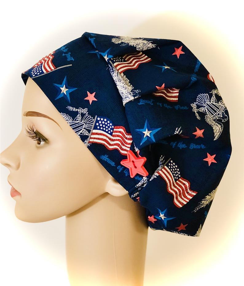 Patriotic Flags & Eagles Bouffant Scrub Cap-best Independence Day gift for nurses.