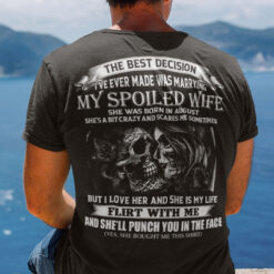 The Spoiled Wife Shirt She Was Born In August Skull Couple