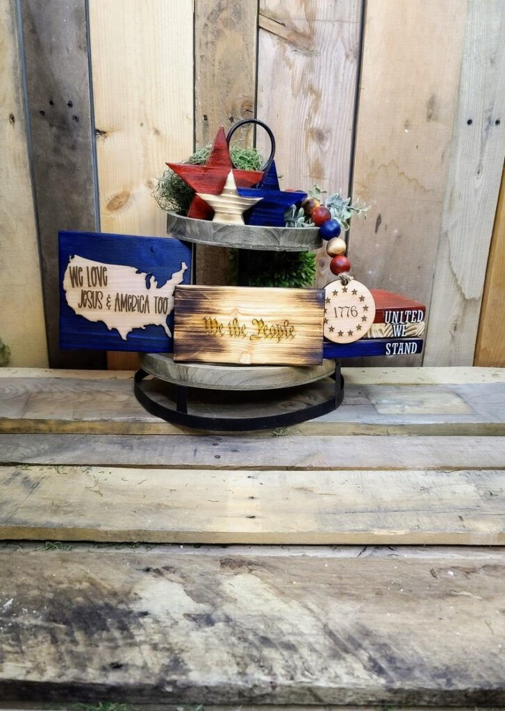 Tiered Tray Decor- best Independence Day gift for mom.