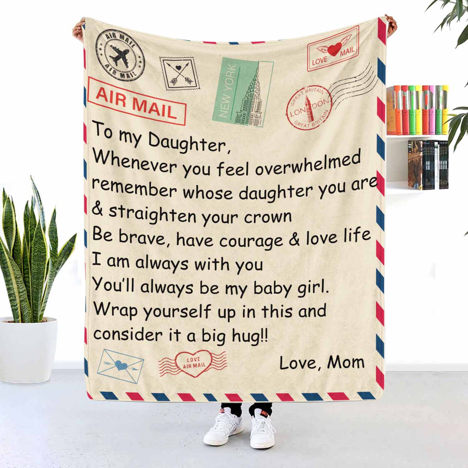 To My Daughter Mom And Daughter Air Mail Fleece Blanket