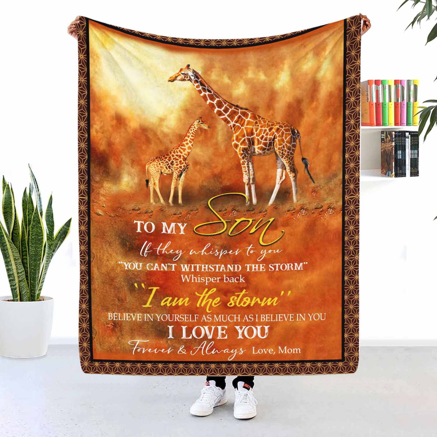 To My Son I Love You Forever And Always Giraffe Blanket