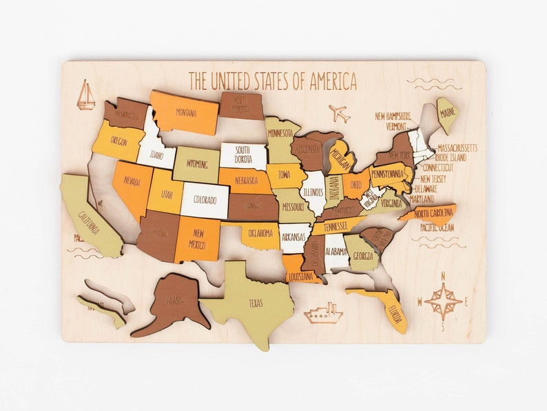 USA Map Puzzle Wooden best Independence Day gift for son