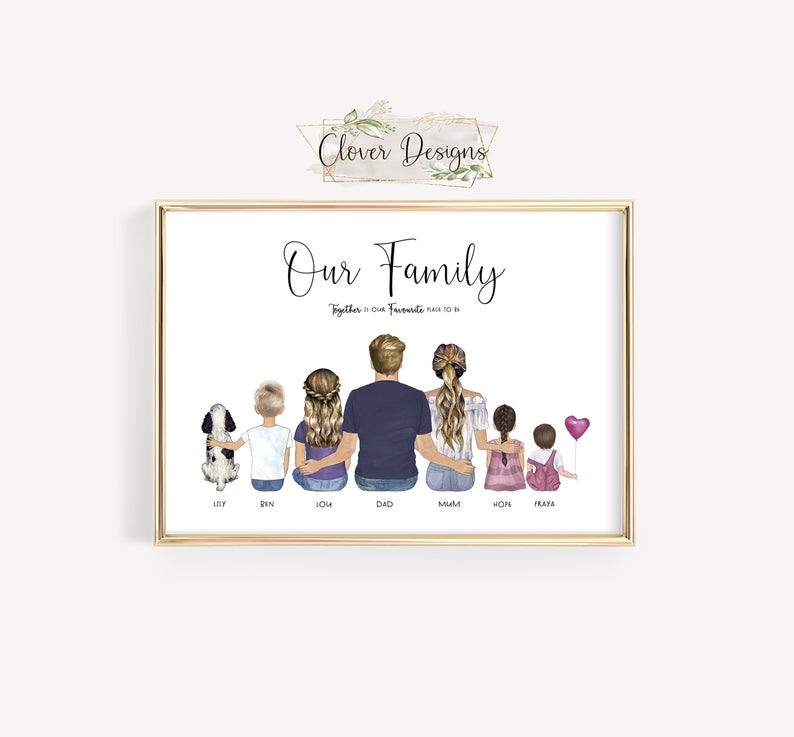 What is a good gift for parents- Illustrated Family Print