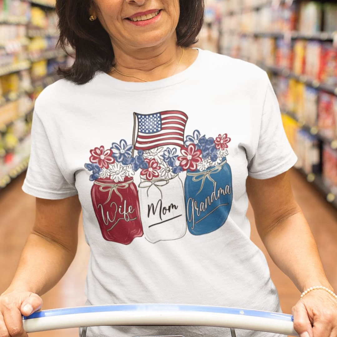 Wife Mom Grandma 4th Of July Shirt Flower American Flag