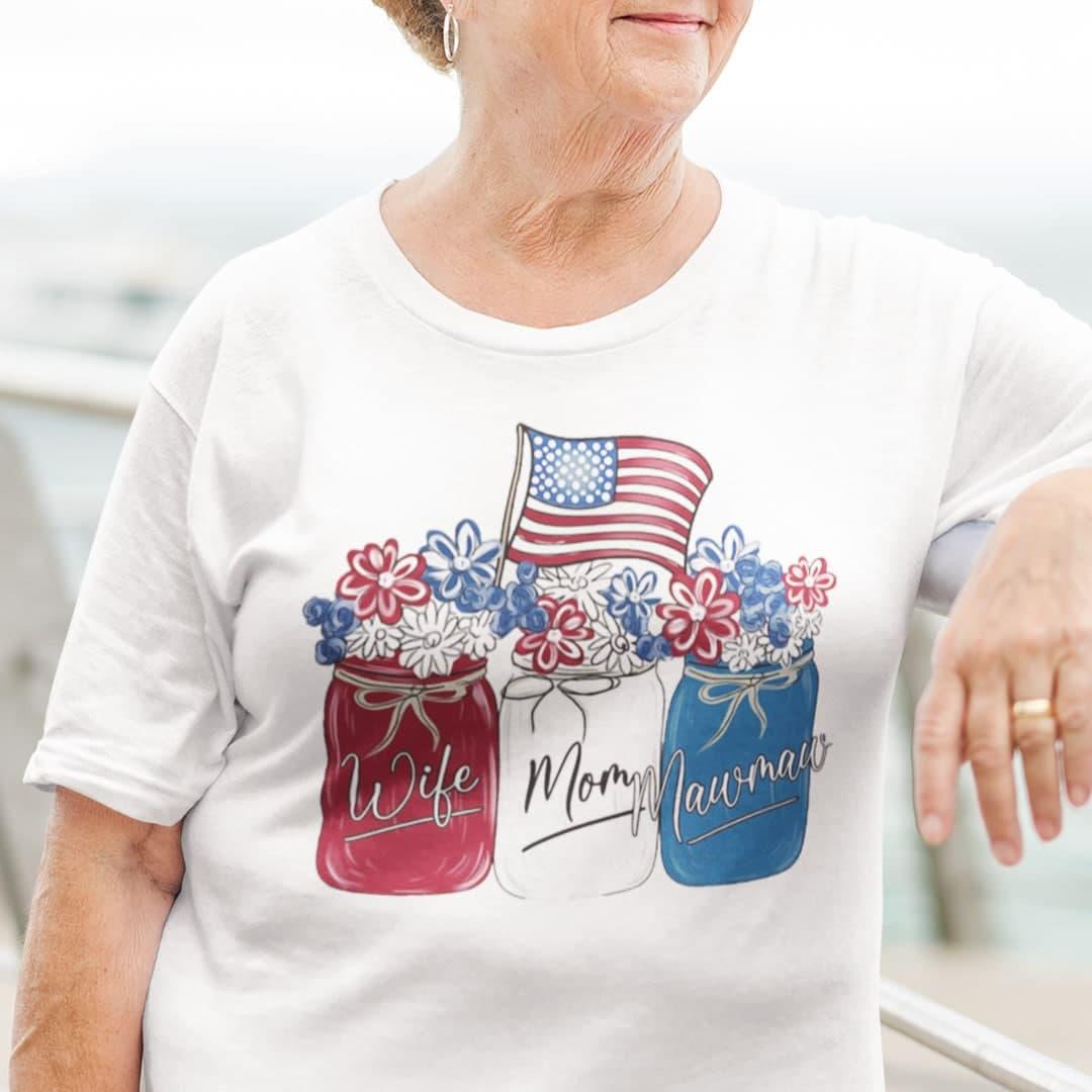 Wife Mom Mawmaw 4th Of July Shirt Flower American Flag