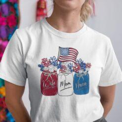 Wife Mom Nana 4th Of July Shirt Flower American Flag