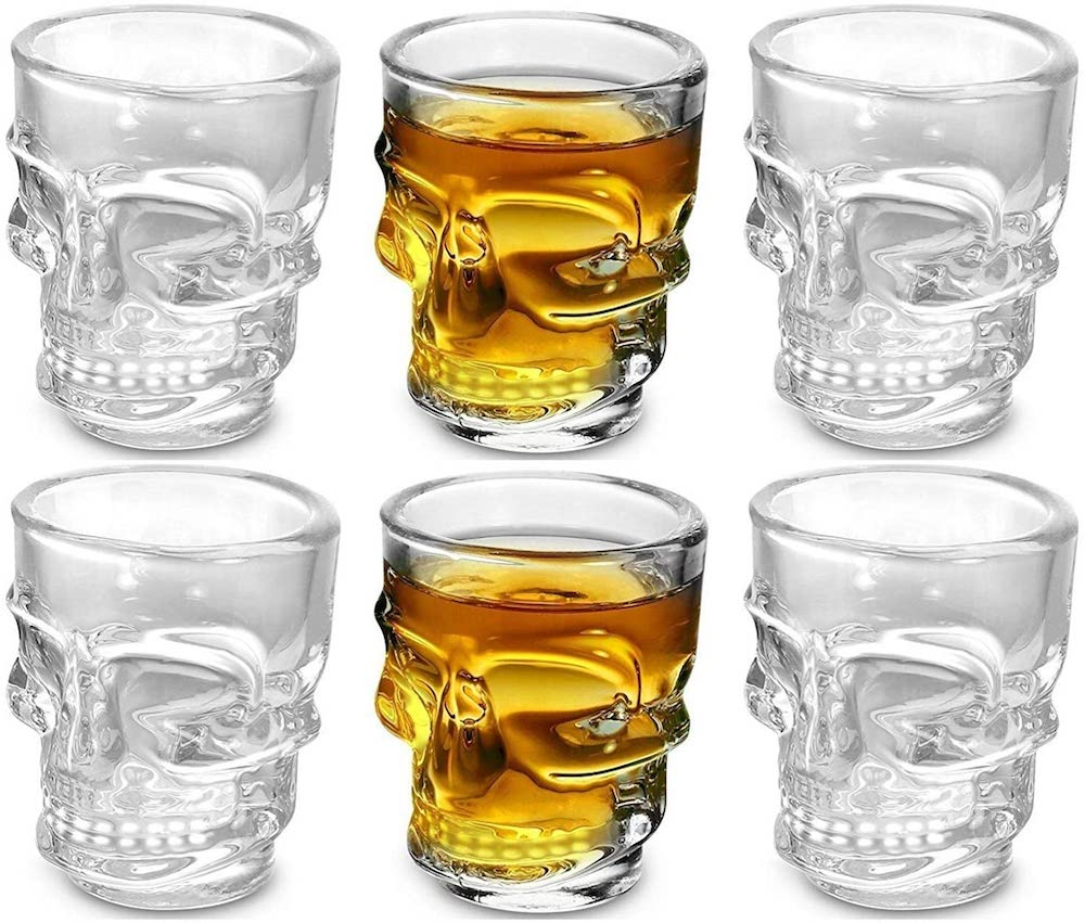 Circleware Skull Face Heavy Base Whiskey Glasses- best Halloween gift for dad.