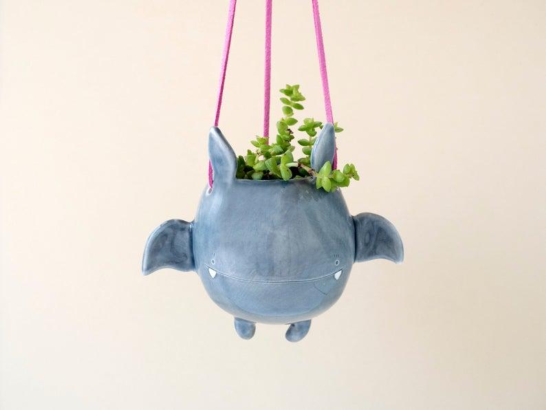Flying Bat Hanging Plant Holder- best Halloween gift for grandma.