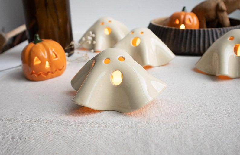 Handmade Ceramic Ghost Tea Light Holder- best Halloween gift for dad.