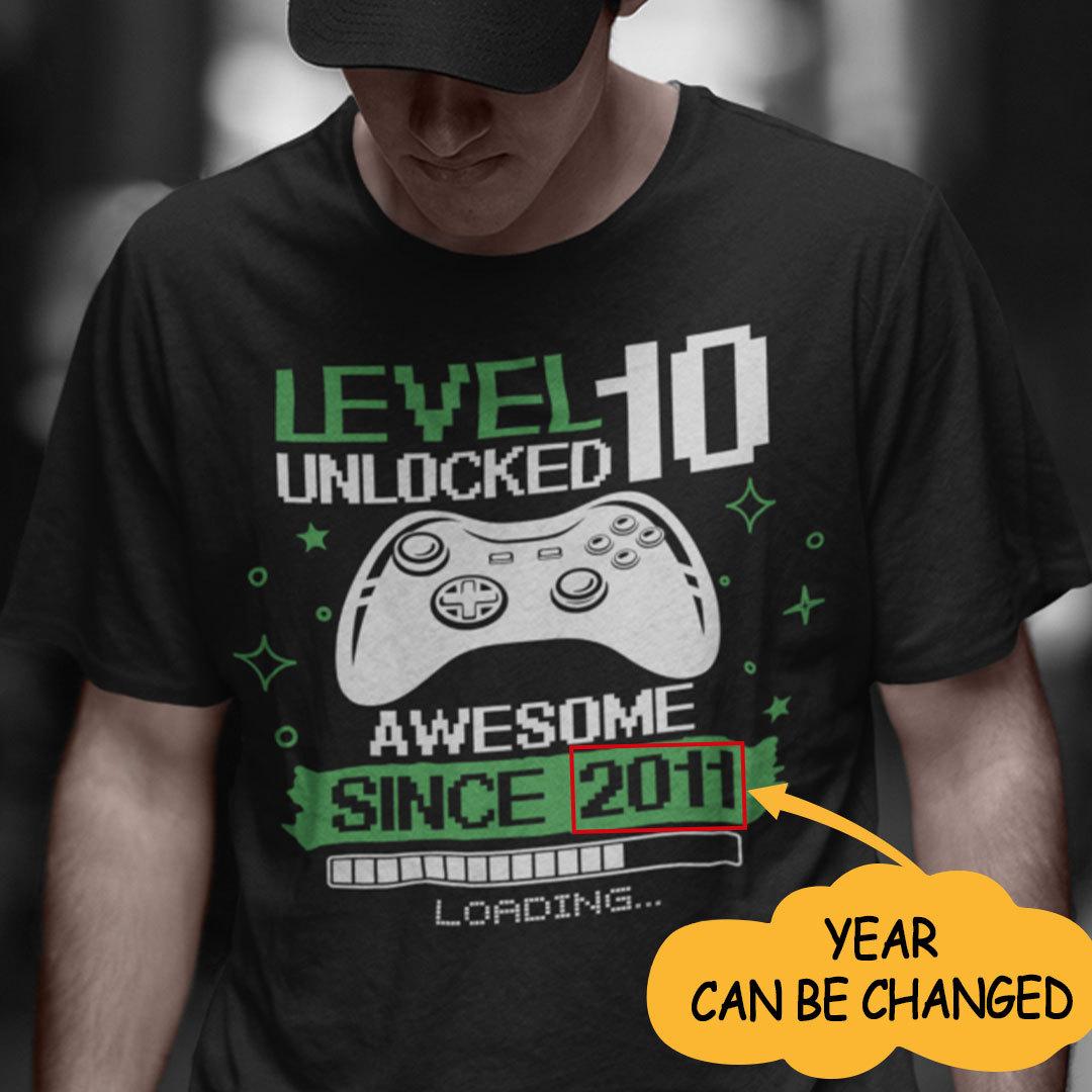 Level Unlocked 10 Shirt Awesome Since 2014 Personalized
